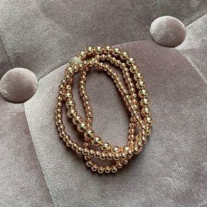 Set of 3 Rose Gold Plated Stretchy Bracelet